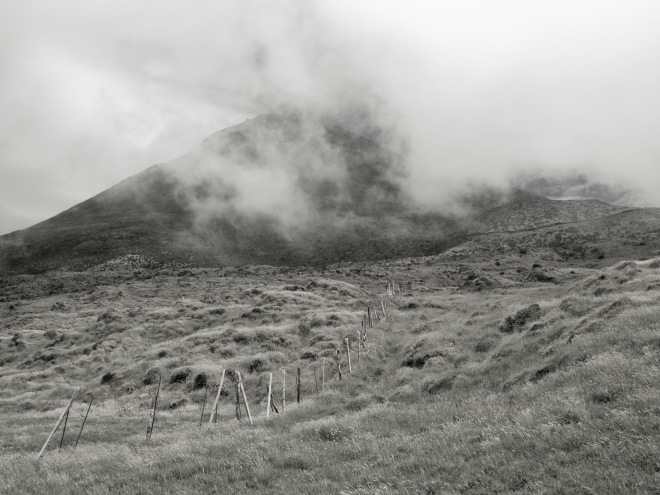 Pico island in a foggy day